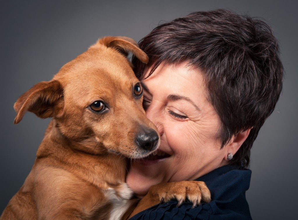 Small dog and middle -aged woman