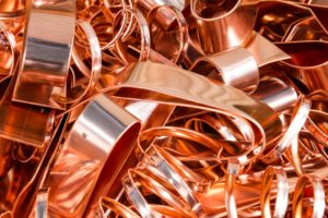Scrapheap of copper foil (sheet) for recycling