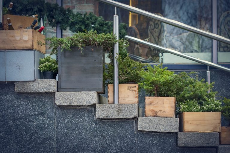 Outdoor garden planters on the stairs